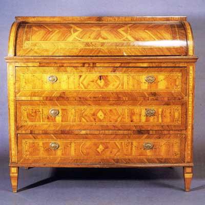 Buró de cilindro o Cómoda de escritorio estilo Carlos IV