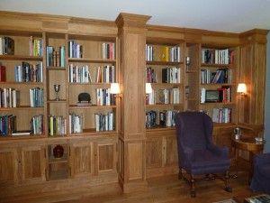 libreria para salon, de madera de roble